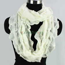 Fashion Women's Solid Beige Knit Hollow Out Soft Infinity 2Loop Casual Scarf New