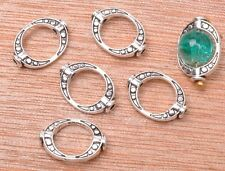 30pcs Tibetan silver charm ellipse bead spacer loose beads 15x10mm A3159