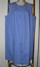 GRANADA Dress 2X Float House Dress Gown Sleeveless Snap Front Blue Embroidery