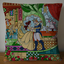 beauty and the beast stained glass rose pillow case size 20x20 inche 2 side