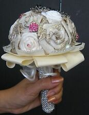 BEAUTIFUL HAND CRAFT WEDDING BOUQUET ROSSETS, PEARL, SWAROVSKI CRYSTAL, GLITTERS