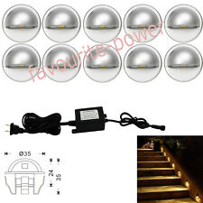 Pack of 10 35mm Warm White LED Deck Light Half Moon Outdoor Garden Stairs Steps