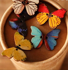 50pcs Bulk Butterfly Phantom Wooden Buttons Sewing Scrapbooking 2 Holes