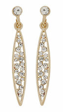 CLIP ON EARRINGS - gold drop earring with cubic zirconia stones - Andie