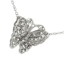 14k White Gold over 925 SS Diamond Alternatives Butterfly Lace Pendant Necklace