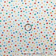 BonEful Fabric FQ Cotton Quilt White Red Blue Yellow Green Small DOT STAR Kid NR