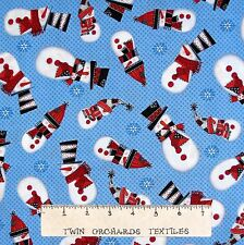 Christmas Fabric - Snow Daze Country Snowman Toss Blue - Quilting Treasures YARD