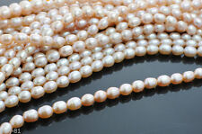 "6-7mm Genuine Natural Pink Freshwater Pearl Rice Loose Beads 15"" AAA"