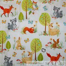 BonEful FABRIC FQ Cotton Quilt Forest OWL Bird Brown Deer Tree Green Leaf Flower