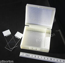 Microscope slide storage case box 25 capacity archiving transport hinged lid