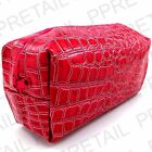 SNAKE SKIN STYLE TOILETRY BAG ★ZIPPED TOP★ Cosmetic/Wash/Travel/Make Up Case NEW