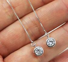 Pretty Pull Through 925 Sterling Silver,Cubic Zirconia Dangle Earrings jewellery