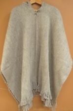 NEW, ALPACA - LLAMA WOOL HOODED PONCHO, CLOAK, HOODIE, SILVER  GREY COLOR ANDEAN