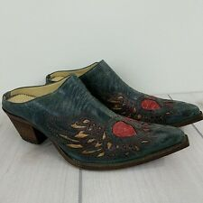 Corral Heart Wings Peace Sign Mule Black Crater Distressed Pewter and Red Slide