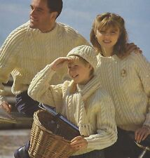 "Aran Sweater Hat Scarf Knitting Pattern Ladies Mens Girls and Boys 24-44"" 847"