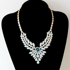 Gold Tone Blue Gem Clear Crystal Choker Chunky Statement Bib Collar Necklace