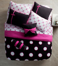 Teen Bedding Black Pink Polka-Dot 8 PC Twin Size Complete Comforter Sheets Set