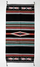 "Fine Hawkeye Woven Rug Blanket Navajo 100% Recycled Cotton Fiber Black 32"" x 64"""