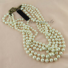 Classic Pearl twisted hammock necklace&five Rows Pearl necklace - #N24