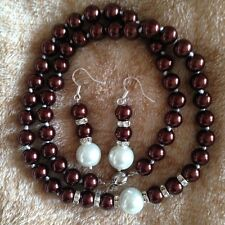 """8-12mm Chocolate Shell Pearl Necklace +Earring  18"""" AAA k72"""