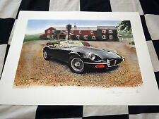 JAGUAR E TYPE V12 SERIES 3 III CONVERTIBLE NEW PAINTING PRINT ART CHRIS DUGAN LE