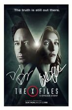 THE X-FILES - DAVID DUCHOVNY & GILLIAN ANDERSON SIGNED A4 PP POSTER PHOTO