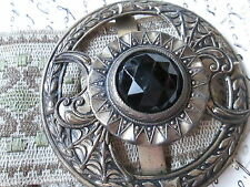 Beautiful Art Deco Buckle in silver tone with black glass stone-and Elastic
