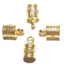 ML5113p Cord End Cap with Loop 6mm Inside 16x9mm Bright Gold Metal Alloy 24/pkg