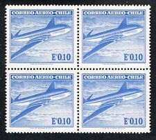 CHILE 1967 AIR MAIL STAMP # 659 MNH BLOCK OF FOUR COMET AIRCRAFT