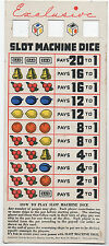 1949 Color Pay Card for the Game of Slot Machine Dice