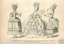 Costumes Dames Mode Robes Dress Caraco Fashion GRAVURE ANTIQUE OLD PRINT 1867