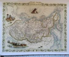 Antique vintage map 1800s: Russia in Asia: John Tallis 13 X 9 Reprint 1851c