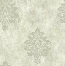 Wallpaper Designer Gray Taupe Big Damask with Glitter on Beige and Taupe Faux