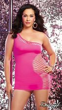 9289x Plus Size Pink  One Shoulder Dress with Asymmetric Fishnet Cutout (Queen)