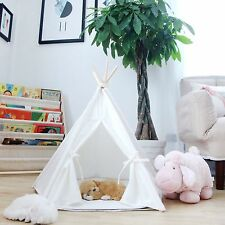 My Market Pet Teepee Dog Toy Tent Classical Pure White Canvas Style