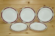 """Aynsley South Pacific Maroon Set of (5) Bread & Butter Plates, 6 3/8"""""""