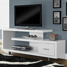 TV Entertainment Center Modern Stand Contemporary Cabinet White Console 60 inch