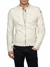 DIESEL LUMI CREAM WHITE LEATHER JACKET SIZE L 100% AUTHENTIC