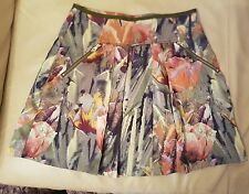stunning ted baker floral pleated skirt size 1 uk8 new!