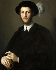 Oil painting agnolo bronzino - portrait of a young man holding sword with hat