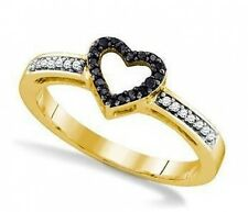 Simply Adorable! 100% 10K Yellow Gold Black and White Diamond Heart Ring .12cttw