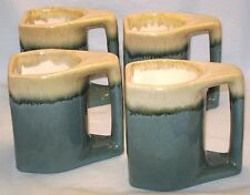 Mugs 4 Handcrafted Pottery Ceramic Coffee Cup Teal Blue Green Drip Signed