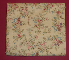 Fabric fat quarter with vintage pale pink and green bunches of flowers on cream