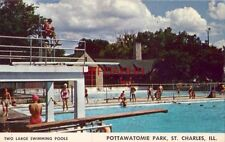TWO LARGE SWIMMING POOLS, POTTAWATOMIE PARK, ST. CHARLES, ILL.