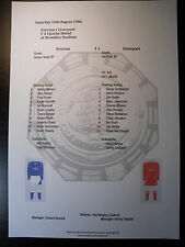 1986 fa charity shield everton et liverpool matchsheet