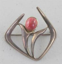 Modern Sterling Silver David Anderson Floral Modernist Pink Cabochon Pin Brooch