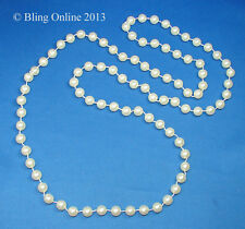 "LONG 46"" CREAM FAUX PEARL 10mm BEAD NECKLACE STRING BRIDESMAID WEDDING COSTUME"