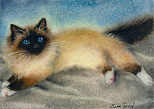 ACEO LTD EDIT BIRMAN CAT PAINTING PRINT SUZANNE LE GOOD
