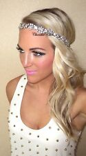 Silver Diamante Vintage Hair Head Band Choochie Choo Bridal 1920's Great Gatsby