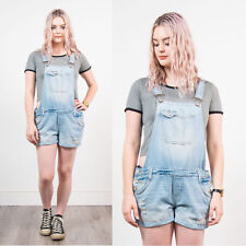 WOMENS VINTAGE DENIM SHORT DUNGAREES ROMPER ADJUSTABLE FADED BLUE CASUAL 14
